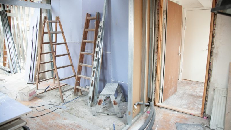 A home during a remodeling project